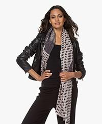 LaSalle Wool-silk blend Printed Scarf - Black/Light Grey
