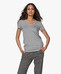 By Malene Birger Fevia Viscose T-shirt - Grey Melange