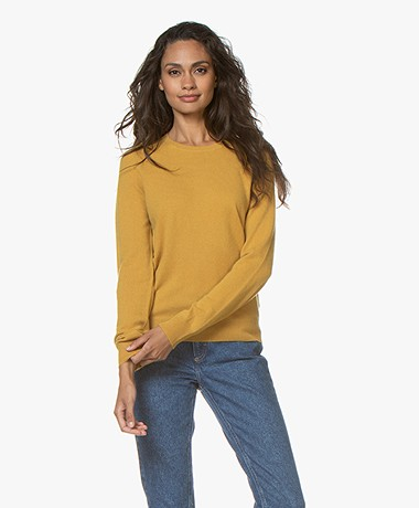 Repeat Cashmere Trui met Ronde Hals - Curry
