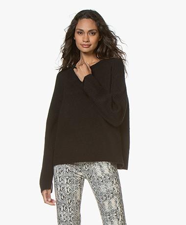 By Malene Birger Ana Ribbed Sleeve Alpaca Blend Sweater - Black