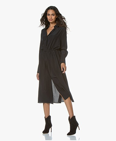 Joseph Evie Washed Silk Shirt Dress - Black