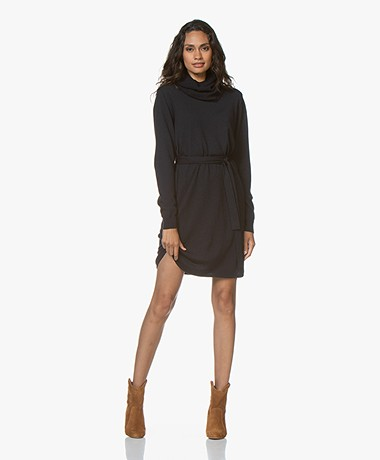 Sibin/Linnebjerg Juliette Sweater Dress with Optional Turtleneck Collar - Navy