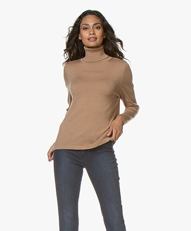 Sibin/Linnebjerg Lisa Turtleneck Sweater in Merino Wool - Camel