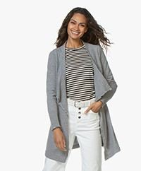 no man's land Open Cardigan with Draped Shawl Collar - Grey Melange