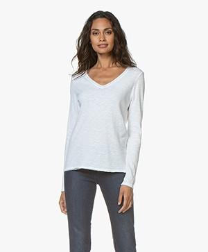 American Vintage Sonoma Slub V-neck Long Sleeve - White