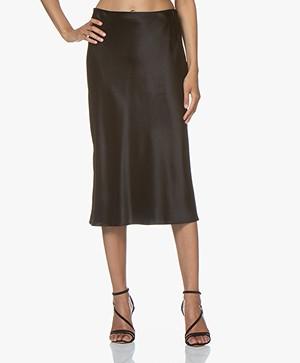 Joseph Frances Silk-satin Midi Skirt - Black