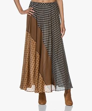 Mes Demoiselles Brakid Silk Print Skirt - Brown