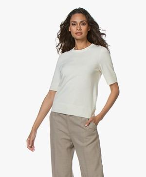 Repeat Luxury Short Sleeve Cashmere Pullover - Cream