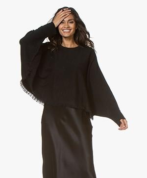 Repeat Cashmere Fringe Sweater - Black
