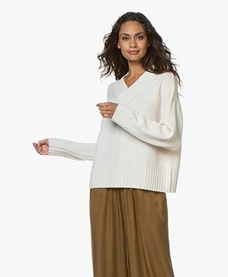 Joseph V-neck Wool-Cashmere Blend Sweater - Ecru