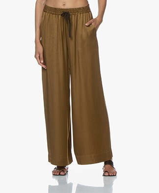 Pomandère Wide Leg Pants in Cupro Blend - Khaki