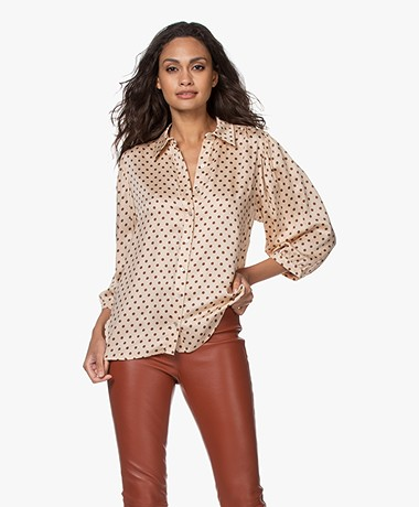 Plein Publique La Rosa Viscose Polkadot Blouse - Blush/Brown