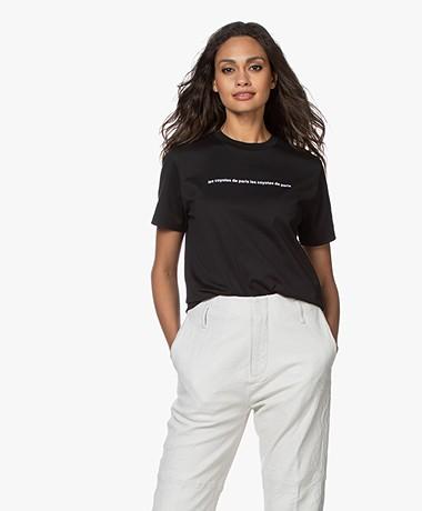 Les Coyotes de Paris Melia Cotton Print T-shirt - Black