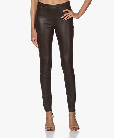LaSalle Leather Slim-fit Pants - Coffee