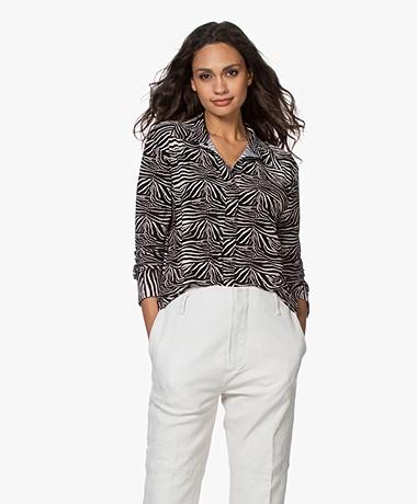 Norma Kamali Tech Jersey Zebra Print Shirt - Black-Off-white
