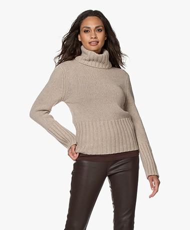 LaSalle Merino Wool Blend Turtleneck Sweater - Sand