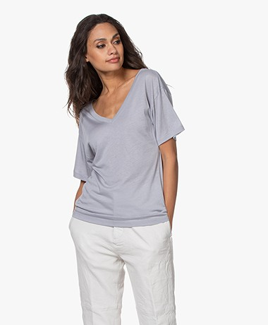 Filippa K Soft Sport Double V-neck Tee - Silver Grey