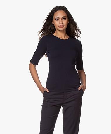Filippa K Cotton Stretch Elbow Sleeve T-shirt - Navy