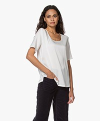 Repeat Silk Short Sleeve Blouse - Cream