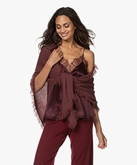 Repeat Cashmere Poncho Scarf with Fringes - Burgundy