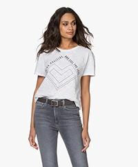 ba&sh Vallea Slub Jersey Print T-shirt - Wit