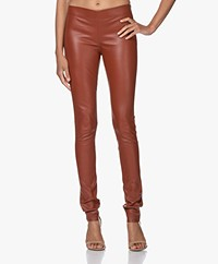 Joseph Leather Stretch Leggings - Rust
