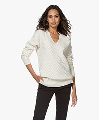 Repeat Reversed Knit V-neck Sweater in Wool Blend - Cream
