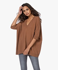LaSalle Pure Cashmere Short Sleeve Sweater - Mocca