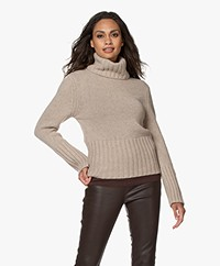 LaSalle Merino Wool Blend Turtleneck Sweater - Sand