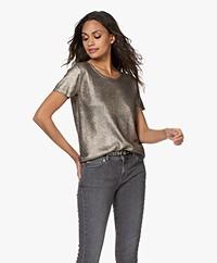 Majestic Filatures Coated Silk Blend S/S Sweater - Metallic Gold
