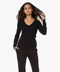 Repeat Cashmere V-neck Pullover - Black