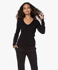 Repeat Cashmere V-hals Pullover - Zwart