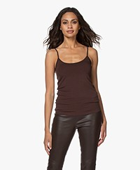Majestic Filatures Anais Soft Touch Jersey Spaghetti Strap Top - Coffee