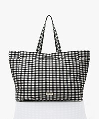Monk & Anna Kyodaina XL Geruite Shopper - Zwart/Wit