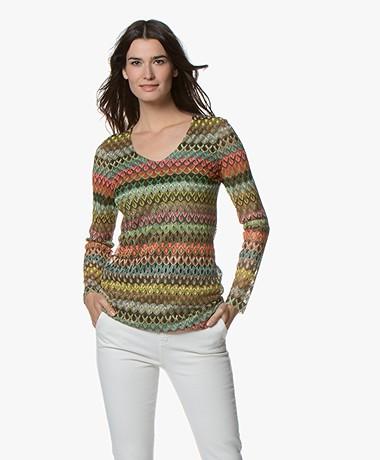Kyra & Ko Fiep Meerkleurige Crochet Longsleeve - Army