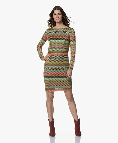 Kyra & Ko Maudi Multicolored Crochet Dress - Army