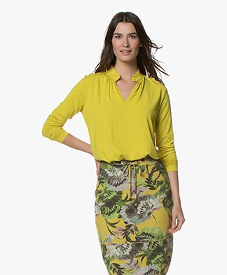 Kyra & Ko Elaine Viscose Slit Neck Long Sleeve - Lime