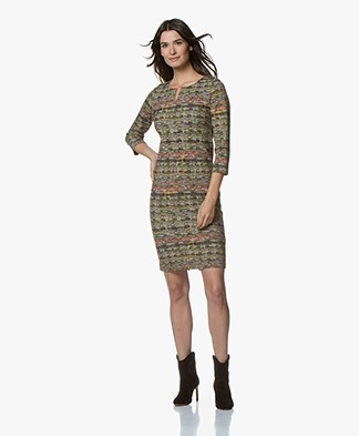 Kyra & Ko Philine Jersey Dress with Boucle Print - Army