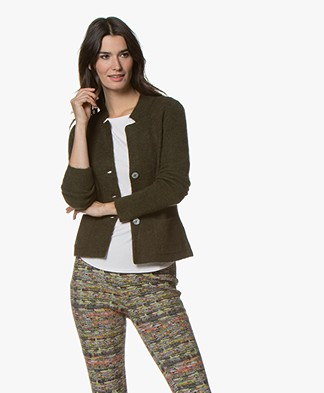 Kyra & Ko Kitty Short Rib Cardigan - Army