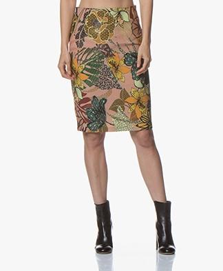 Kyra & Ko Gezina Textured Floral Pencil Skirt - Old Pink