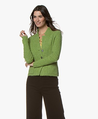 Kyra & Ko Kitty Short Rib Cardigan - Avocado