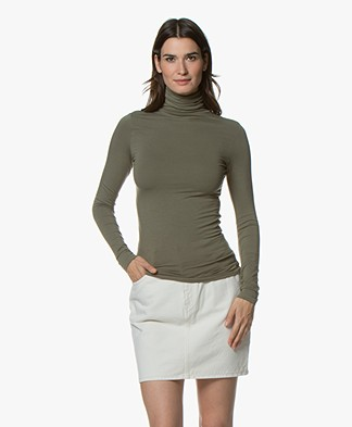 Majestic Filatures Viscose Jersey Turtleneck - Army