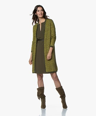 Kyra & Ko Serena Knee-length Open Jacquard Cardigan - Lime