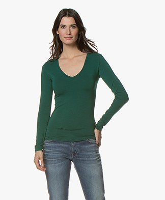 Majestic Filatures Soft Touch T-shirt with V-neck - Forest