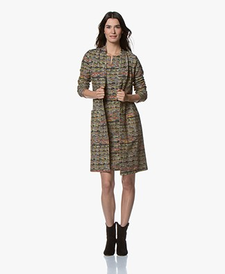 Kyra & Ko Vilar Long Jersey Blazer Coat with Boucle Print - Army