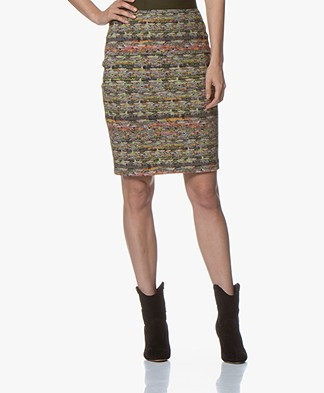 Kyra & Ko Neva Jersey Pencil Skirt with Boucle Print - Army