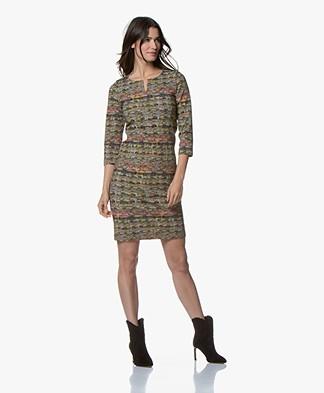Kyra & Ko Philine Jersey Dress with Boucle Print - Army