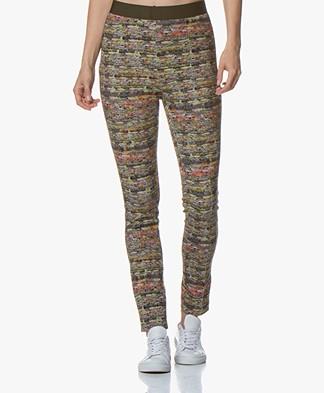 Kyra & Ko Merel Jersey Slim-fit Pants with Boucle Print - Army