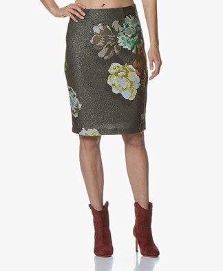 Kyra & Ko Tatjana Lurex Print Pencil Skirt - Army