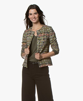 Kyra & Ko Selina Jersey Blazer Jacket with Boucle Print - Army